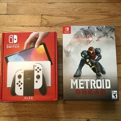Nintendo Switch Oled White + Metroid Dread Special Edition Bundle Rare Preorder