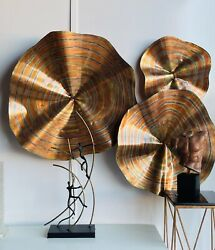 Fantastic Set Of Three Acid Etched Wall Art Sculptures By C Jere