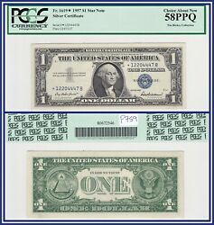 Star Note 1957 1 Silver Certificate Dollar Pcgs 58 Ppq Au About Unc New