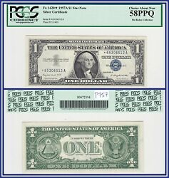 Star Note 1957a 1 Silver Certificate Dollar Pcgs 58 Ppq Au About Unc New
