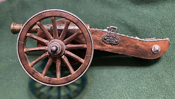 Classic Napoleon Wood And Metal 11 1/2andrdquo Battlefield Toy Cannon With Plunger