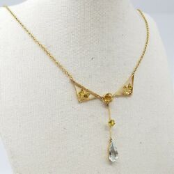 15ct Vintage Yellow Gold Sapphire And Aqua Necklace 45cm 2582