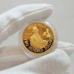 22ct 10.2gr Gold Proof Coin - 200 1987 Arthur Phillip - In Case + Book 53157