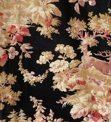 Antique French fabric black ground red pink beige cotton linen 1890 deer floral