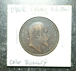 1902 Great Britain- Edward Vii - One Penny Bronze