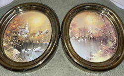 Vintage Homco Home Interior Gold Oval Frame Pictures Church Lake Swan Pond Trees