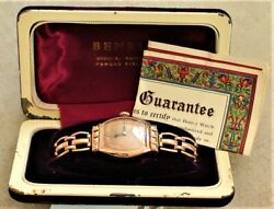 Vintage 1940's Mens Benrus Barrel Watch 15 Jewels Swiss With Box And Paper Good