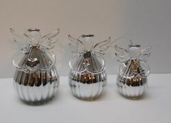 Angel Set Ornaments Figurines Glass And Silver Angel Family Original Box