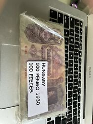 Hungary 100 Pengo 1930 Banknote P 112- Rare 100 Notes. Full Pack Used Condi
