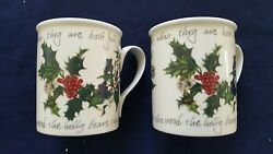 Portmeirion The Holly And The Ivy 8 Oz Mugs Set Of 2 Made In Great Britain.