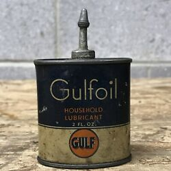 Vintage Gulf Gulfoil Household Lubricant Oil 2 Oz Can Lead Topper Handy Oiler