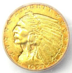 1927 Indian Gold Quarter Eagle 2.50 Coin - Certified Icg Ms60 Details Unc