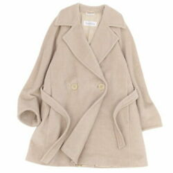 Max Mara Mara Belted Double Breasted Coat Wool Cashmere Outer Women _38710