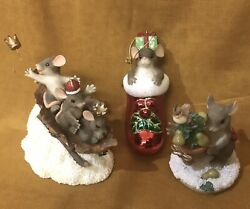 3 Fitz And Floyd Holiday Figurines /glass Blown Ornament Dean Griff Artist Box