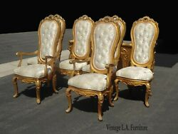 Set Six Vintage French Provincial Rococo Louis Xvi Tallback Gold Dining Chairs