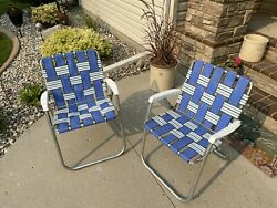 Vintage Aluminum Folding Lawn Chairs Beach Patio Outdoor Webbed Lot/2
