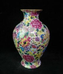 Finest Chinese Old Hand Painting Flowers Porcelain Vase Yongzheng Marks