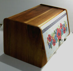 Vintage Wooden Bread Box With Floral Front Door Cover And Ceramic Knob 15x7.5x9