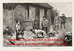 Dog English Pointer Points Child's Toy Hobby Horse 1880s Antique Print