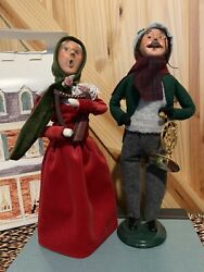 Byers Choice Vintage Carolers Figurines Signed Man Trumpet And Woman Music Harp