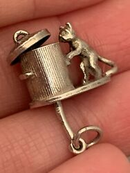 Vintage Cat And Fish In Bin Movable articulating Silver Charm