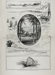 New York Sands Point Long Island, Beach And Lighthouse, Large 1880s Antique Print