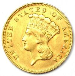 1878 Indian Three Dollar Gold Coin 3 - Uncirculated Details Unc Ms - Rare