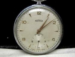 347/ 50and039s Roamer Rohmer Smosseco Pocket Watch Hand-wound
