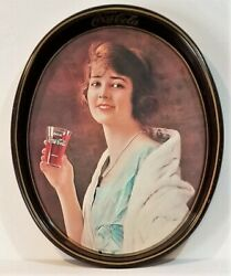 Vintage Coca Cola 1973 Oval Tin Serving Advertising Tray Flapper Girl Pictured