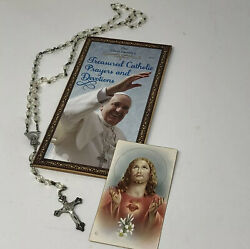 Vtg Clear Beaded Rosary Made In Italy /how To Pray The Rosary Booklet And Card