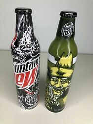 2-2007 Unopened Mountain Dew Green Label Art Aluminum Soda Bottles Cans By Pepsi