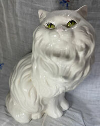"""Vintage Large 14"""" White Ceramic Persian Cat Statue Figurine With Green Eyes Mcm"""