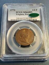 Newman 25-m  Pcgs Ms64 Cac  1773 Virginia Colonial Copper Coin W-1580