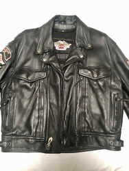 Harley Davidson Large Mens Leather Jacket With Liner Texas And Dallas Patches Used