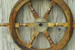 Antique 18 Inch Ships Boat Steering Wheel Wood Brass Nautical Pickup Only