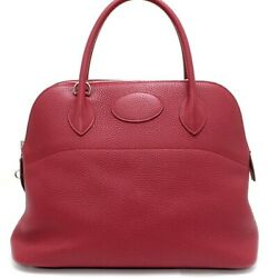 Hermes Bolide 31 Taurillon Clemence Leather Two-way Shoulder Handbag Ruby 10172