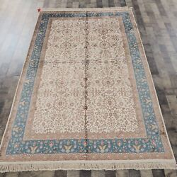 5and039x8and039 Handknotted Silk Area Rug Home Interior Kid Friendly Indoor Carpet L39b