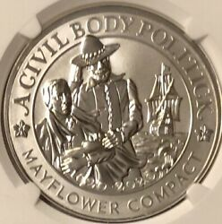 2020 Mayflower 400th Ann Reverse Proof Silver Medal Ngc Pf70 Early Release