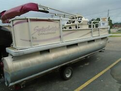 2004 Sweet Water Challenger 180es 18ft Pontoon Boat/party Barge W/ Galv. Trailer