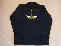 Harley Davidson Winged Patch Menand039s Motorcycle Black Sweater Sz Large Never Worn