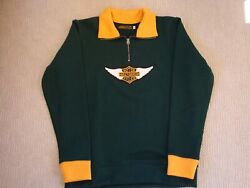 Harley Davidson Winged Patch Menand039s Motorcycle Gold On Green Sweater Size Large