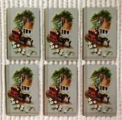 6 Vintage Playing Cards StageCoach People Horses Collect Swap Craft Journaling