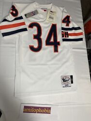 New Mens Small 36 White Mitchell And Ness Chicago Bears Walter Payton Authentic