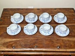 Set Of 8 Vintage Porsgrund Norway 56 Straw Rimmed Coffee Tea Cups And Saucers Euc