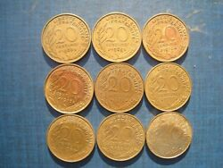 France 20 Centimes 1963 1969 1970 1972 1976 1979 1981 1984 And 1997. 9 Coins.