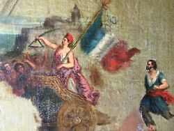 Painting Antique Historical Marianne Allegorie Of The Republic 1848 Oil Xixth