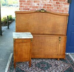 French Antique Burled Walnut Louis Xvi Queen Size Bed With Nightstand.