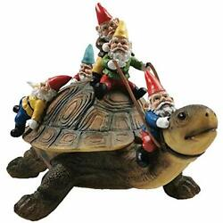 Muse Design Garden Gnome Turtle Statues Yard Art Resin Figurine Decorations Outd