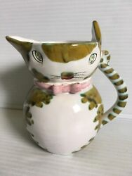 Vintage Italian Pottery Cat Creamer Pitcher Signed amp; Numbered