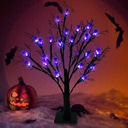 22 Inch Lighted Halloween Black Tree Black Glitter Spooky Tree with 24